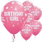 Palloncini in lattice rosa Birthday Girl - 28 cm