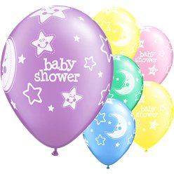 Palloncini in lattice per baby shower con luna e stelle - 28 cm