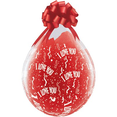 Palloncini in lattice per San Valentino da riempire scritta I love you - 45 cm