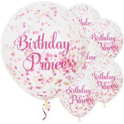 Palloncini in lattice Birthday Princess con coriandoli - 30 cm