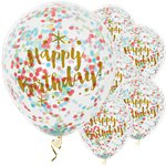 Palloncini in lattice Happy Birthday oro con coriandoli - 30 cm
