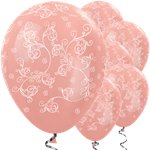 Palloncini in lattice motivo floreale oro rosa metallizzato - 30 cm