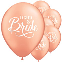 Palloncini in lattice oro rosa scritta Team Bride - 28 cm