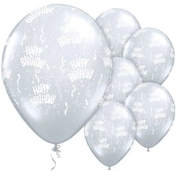 Palloncini in lattice Happy Birthday trasparenti - 28 cm