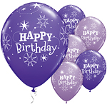 Palloncini in lattice Happy Birthday viola brillante - 28 cm
