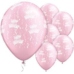 Palloncini il lattice Happy Birthday rosa perla - 28 cm