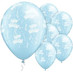 Palloncini in lattice Happy Birthday azzurro chiaro perlati - 28 cm