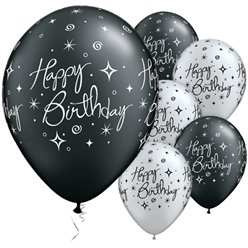 Palloncini in lattice Happy Birthday nero e argento brillanti - 28 cm