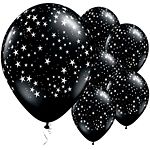 Palloncini in lattice nero onice con stelle - 28 cm