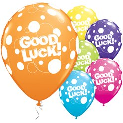 "Palloncini in lattice a pois ""Good luck"" - 28 cm"