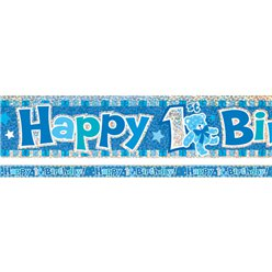 Festone azzurro Happy 1st Birthday - 3,7 m