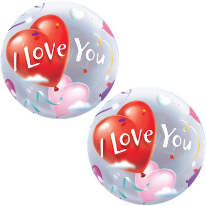 "Palloncino Bubble di San Valentino ""I love you"" - 56 cm"