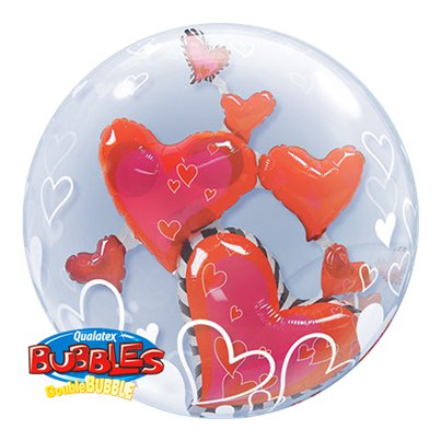 Palloncino Bubble di San Valentino con cuori all'interno - 60 cm