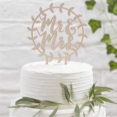 "Decorazione per torta di legno ""Mr & Mrs"" Beautiful Botanics"