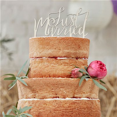 "Decorazione per torta ""Just married"" Matrimonio floreale"