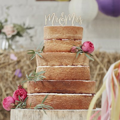 "Decorazione per torta ""Mr & Mrs"" Matrimonio floreale"
