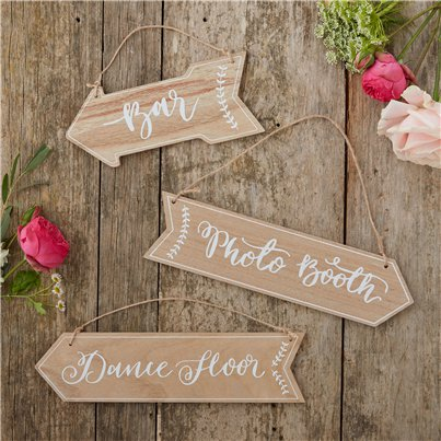 Insegne di legno Bar, Dance floor, Photo booth Matrimonio floreale