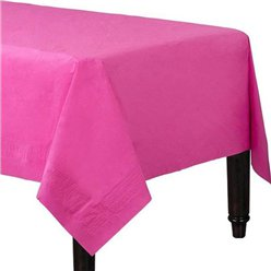 Tovaglia di carta rivestita di plastica rosa shocking - 1,4 m x 2,8 m