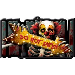 "Cartello di plastica clown malvagio ""Do not enter"" - 44 cm"