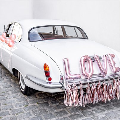 Set decorazioni per auto del matrimonio LOVE oro rosa