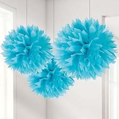 Pompon decorativi turchese - 40 cm