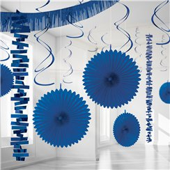 Set decorazioni di carta e foil blu
