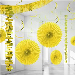 Set decorazioni in carta e foil giallo