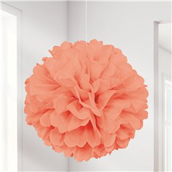 Pompon decorativo corallo - 41 cm