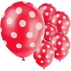 Palloncini decorativi a pois rossi - lattice 30 cm