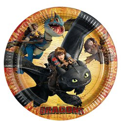 Piatti di carta How to train your dragon - 23 cm