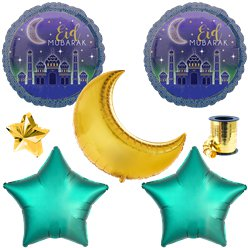 Set palloncini in foil Eid Mubarak - Assortiti