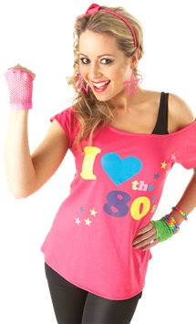 Maglietta I Love the 80's - Costume adulto