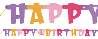 Festone di compleanno rosa Happy 1st Birthday - 1,2 m