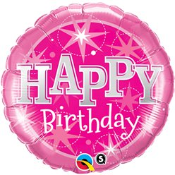 Palloncino in foil Happy Birthday rosa brillante - 45 cm