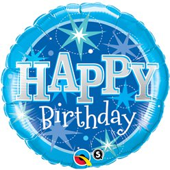Palloncino in foil Happy Birthday azzurro brillante - 45 cm