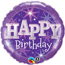 Palloncino in foil Happy Birthday viola brillante - 45 cm
