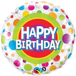 Palloncino in foil Happy Birthday a pois colorati - 45 cm