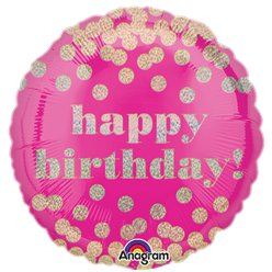 Palloncino in foil Happy Birthday rosa a pois olografici - 45 cm