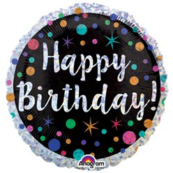 Palloncino in foil Happy Birthday a pois - 45 cm