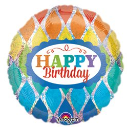 Palloncino in foil Happy Birthday olografico arcobaleno - 45 cm
