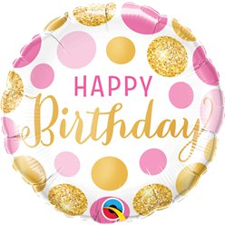 Palloncino in foil Happy Birthday rosa a pois oro - 45 cm