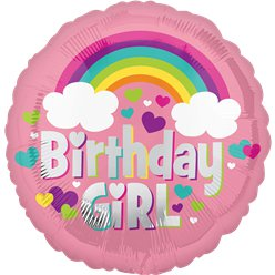 Palloncino in foil Birthday Girl arcobaleno - 45 cm