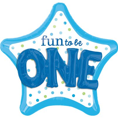 "Palloncino in foil a stella scritta ""Fun to be one"" azzurro - 91 cm"
