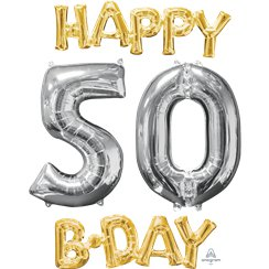"Kit palloncini oro e argento ""Happy 50th Birthday"" - 66 cm"