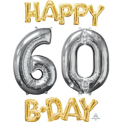 "Kit palloncini oro e argento ""Happy 60th Birthday"" - 66 cm"