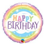 "Palloncino in foil arcobaleno con scritta ""Happy Birthday"" - 45 cm"