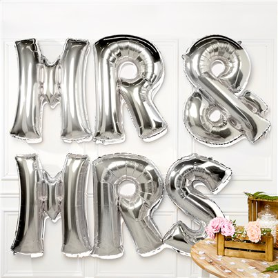 Palloncini in foil argento Mr & Mrs - 86 cm