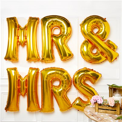 Palloncini in foil oro Mr & Mrs - 86 cm