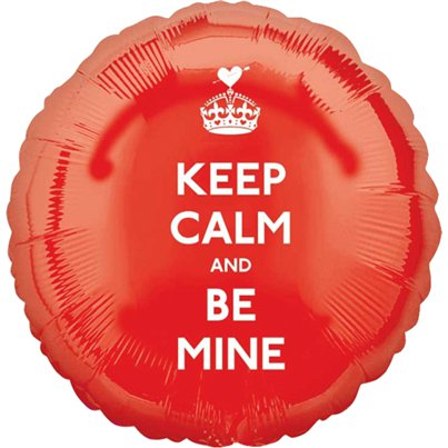 Palloncino in foil per San Valentino Keep Calm & Be Mine - 45 cm