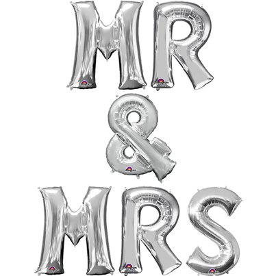 "Kit di palloncini argento ""Mr & Mrs"" - 40 cm"
